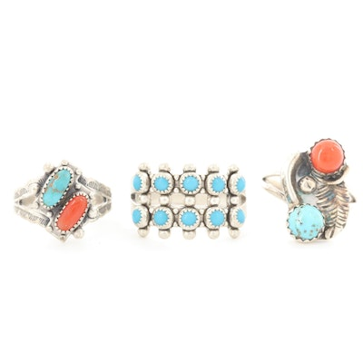 Southwestern Style Sterling Turquoise, Coral and Imitation Turquoise Rings