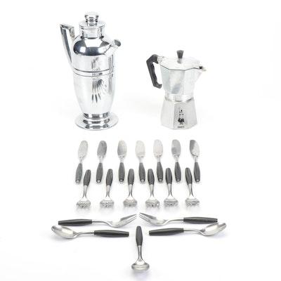 Coffee Pot, Bialetti Espresso Maker and Dansk Flatware
