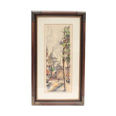 Fautin Watercolor Painting of Street Scene