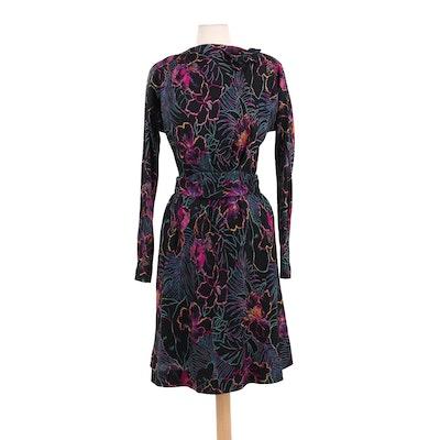 Pauline Trigère Multicolor Hibiscus Wool Blend Belted Midi Dress, 1980s Vintage