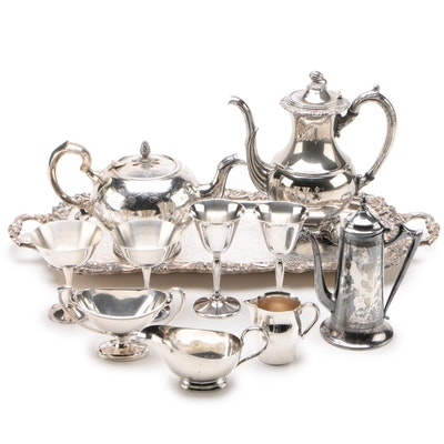Coffee and Tea Silver Plate Serveware Assortment, Vintage