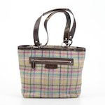 Coach Penelope Wool Tattersall Handbag Trimmed in Brown Leather