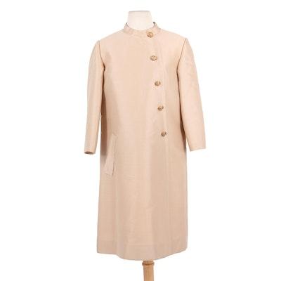 Jean Patou Paris Wool Blend Coat Dress with Bejeweled Buttons, 1960s Vintage