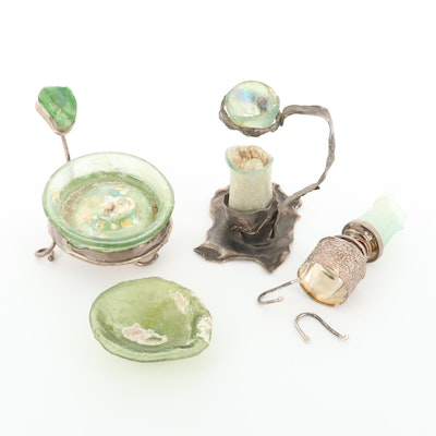 Scrap Sterling Silver Assortment Including Glass