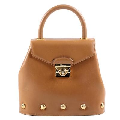 Salvatore Ferragamo Tan Leather Handbag with Shoe Button Medallions, Vintage
