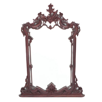 Victorian Mahogany Finish Wood Wall Mirror