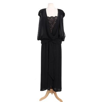 Lilli Diamond of California Edwardian Revival Black Silk and Lace Evening Dress