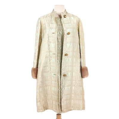 Anne Fogarty Silk Shift Dress and Coat with Mink Fur Cuffs, 1960s Vintage
