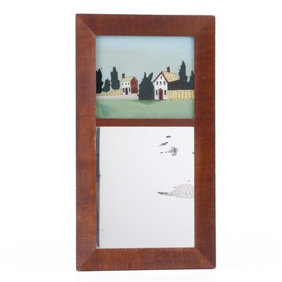 Trumeau Tabernacle Mirror with Reverse Painted Landscape, Early 20th Century