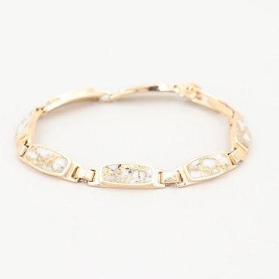 14K Yellow Gold and Gold Veined Quartz Bracelet