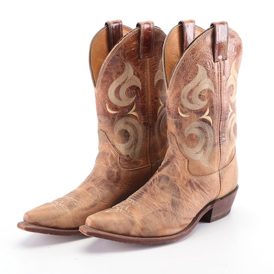 Men's Justin Embroidered Tan Leather Western Boots