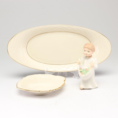 """Lenox Porcelain Candy Dish, Bread Tray and """"Cheerful Giver"""" Figurine"""