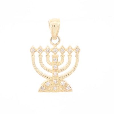 14K Yellow Gold Diamond Menorah Pendant