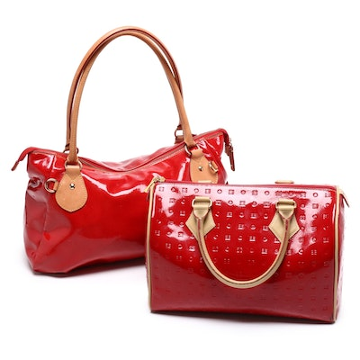 Arcadia and Cavalcanti Red Patent Leather Handbags with Tan Leather Accents