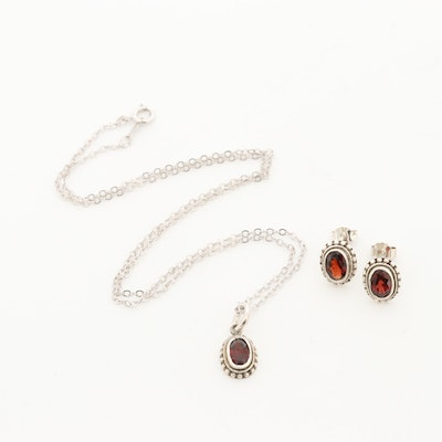 Sterling Silver Garnet Pendant Necklace and Earrings Set