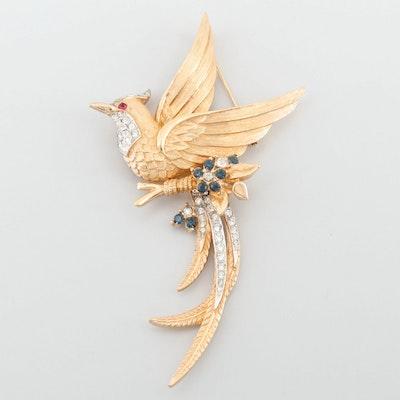 Circa 1960s Marcel Boucher Rhinestone Bird of Paradise Brooch