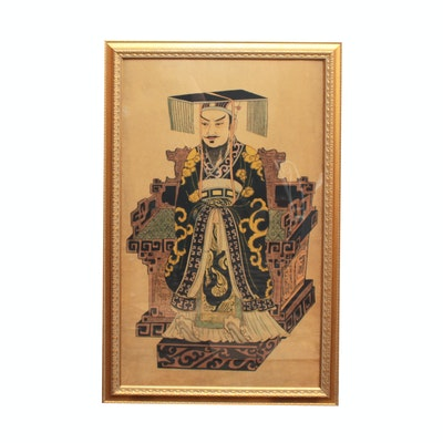 Chinese Woodblock Print of Emperor