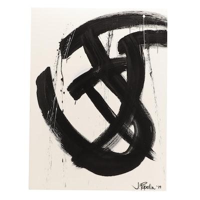 "J. Popolin Acrylic Painting ""Black Swirls with Drips"""