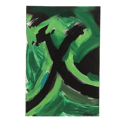 """J. Popolin Acrylic Painting """"Black and Greens"""""""