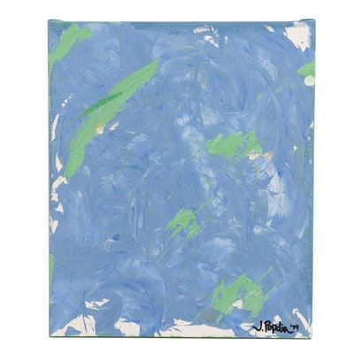 """J. Popolin Acrylic Painting """"Blues and Greens"""""""