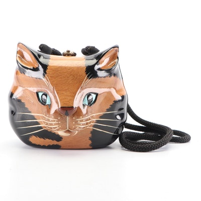 Timmy Woods of Beverly Hills Handcrafted Acacia Wood Cat Motif Purse