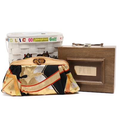 Caro-Nan Hand-Painted Woven Wood Box Purse, Uroco, and Other Purses