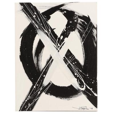 """J. Popolin Acrylic Painting """"XO"""""""