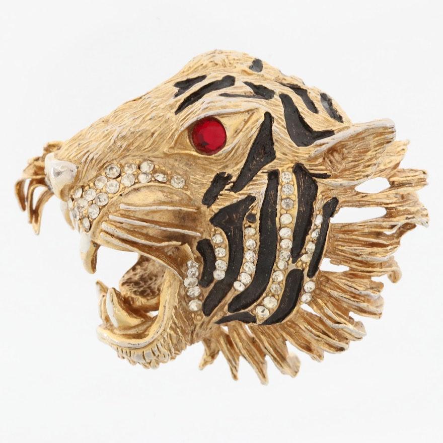Vintage Hattie Carnegie Enamel and Rhinestone Tiger Brooch