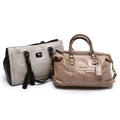 Coach Tan Leather Ashley and Legacy Leather Handbags