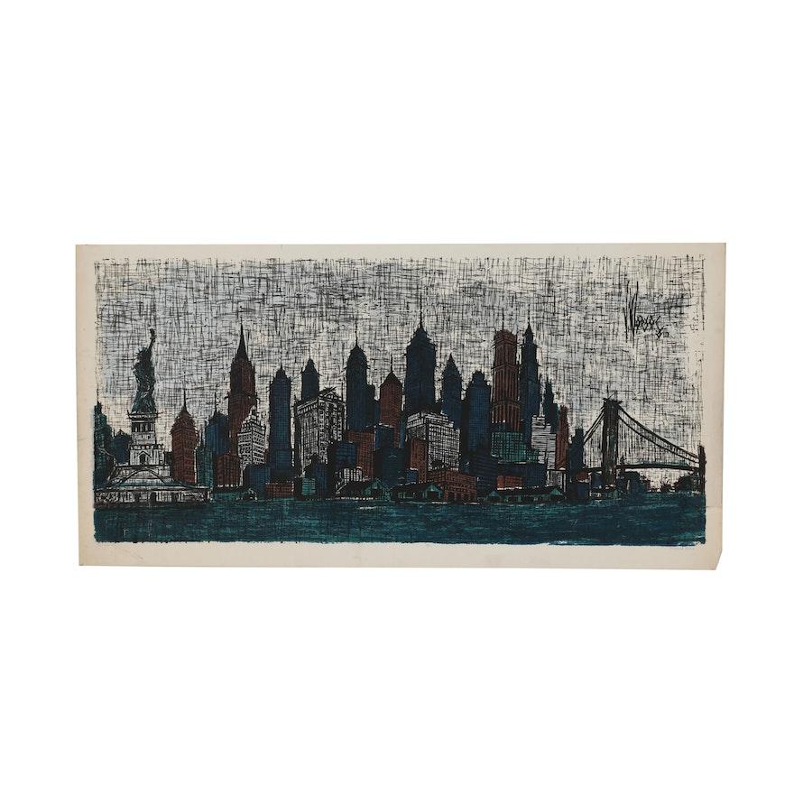 "Richard Sims Serigraph ""New York City"""