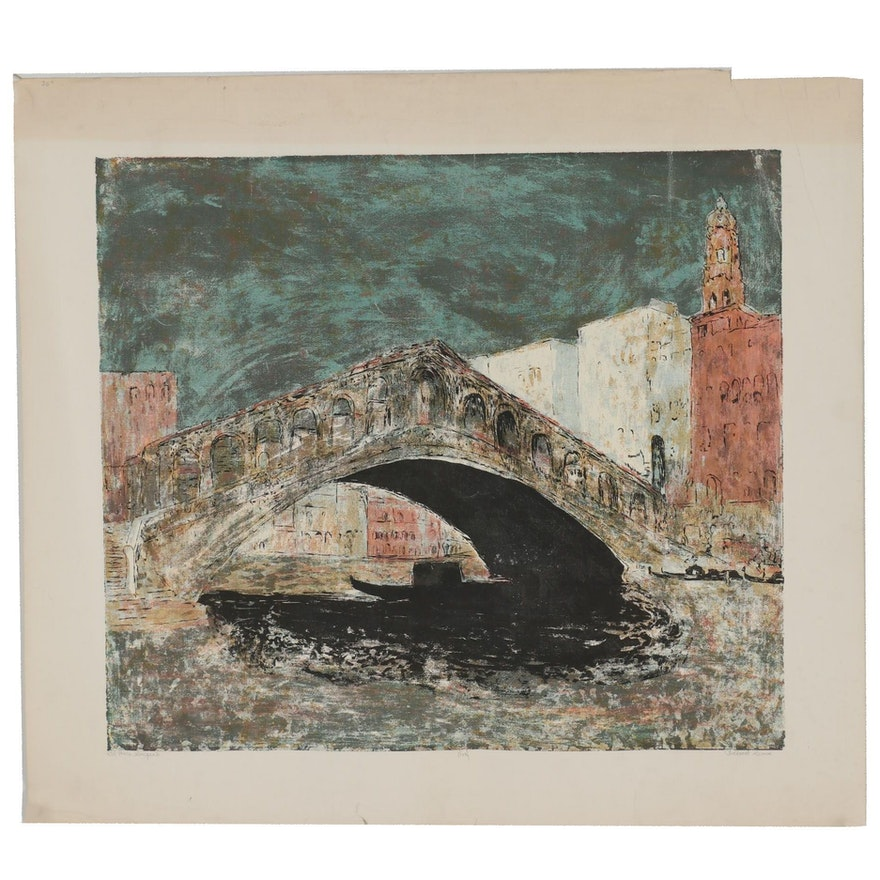 """Richard Sims Serigraph """"Il Ponte Sospeso"""""""