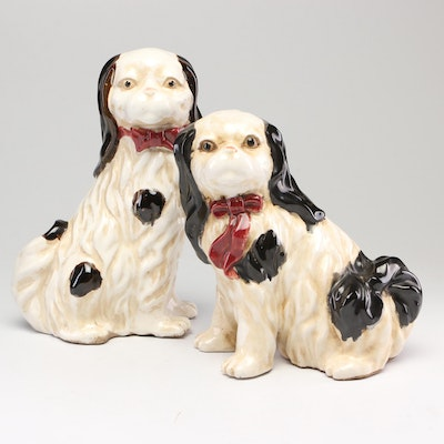 Hand-Painted Staffordshire Style King Charles Spaniel Figurines