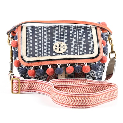 Tory Burch Scout 2 in 1 Bag in Nylon and Leather with Pom Poms