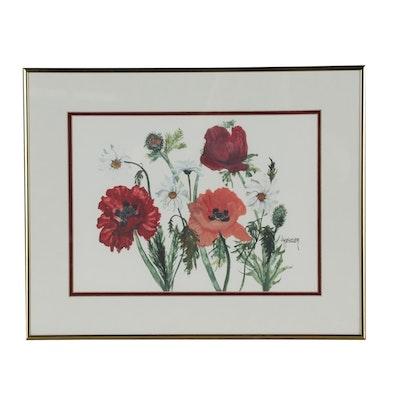 Offset Lithograph after Jan Metzler Floral Scene