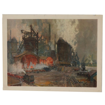Photogravure after Erich Mercker Industrial Scene, 1954