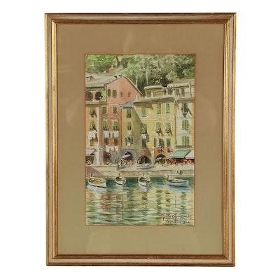 Guido Gagliardi Watercolor Painting of Portofino, 1964