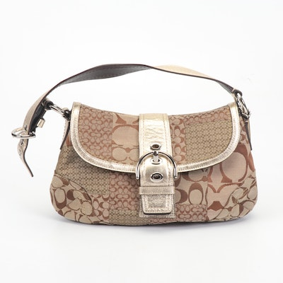 Coach Brown Soho Signature Patchwork Jacquard Bag Trimmed in Metallic Leather