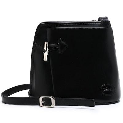 Longchamp Roseau Black Leather Crossbody Bag