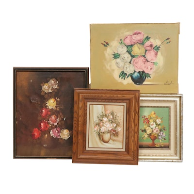 Floral Still Life Oil Paintings Featuring R. Rosini