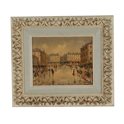 Semprini Oil Painting of an Italian Street Scene
