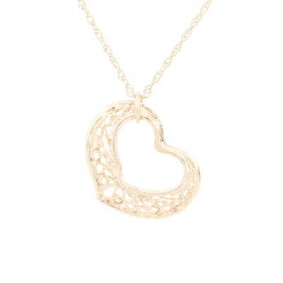 14K Yellow Gold Filigree Heart Pendant with 10K Yellow Gold Chain
