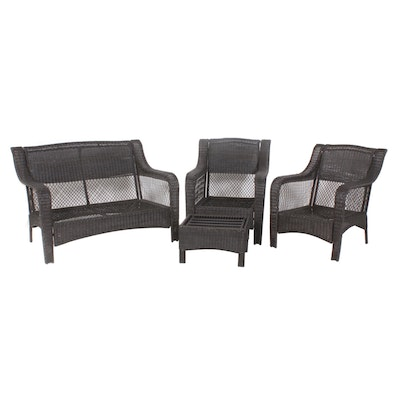 Outdoor Wicker Patio Set, Loveseat, Two Chairs, Ottoman