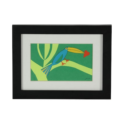Janice Paper Folk Style Collage of Toucan