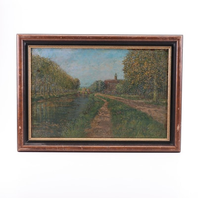 Canal Landscape Oil Painting