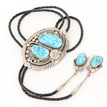 Southwestern Style Signed Sterling Silver Turquoise Bolo Tie