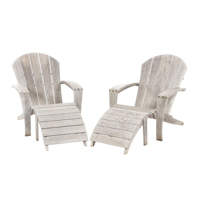 Smith & Hawken Teak Adirondack Style Patio Lounge Chairs with Footrests