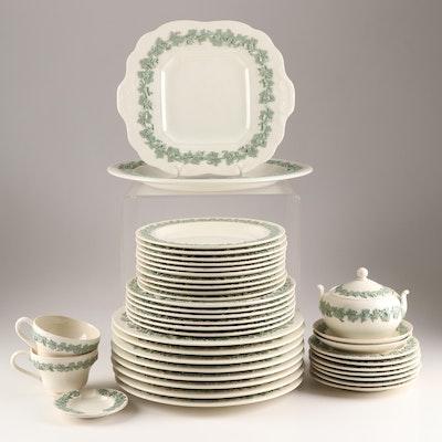 "Wedgwood Queensware ""Celadon on Cream Plain Edge"" Dinnerware, Mid 20th Century"