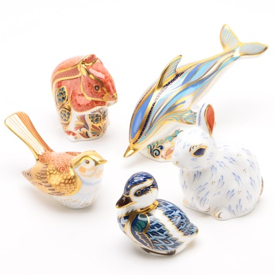 Royal Crown Derby Duckling, Bird, Squirrel, Dolphin and Snowy Rabbit Figurines