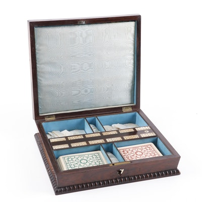 Chinese Etched Mother of Pearl Game Pieces with English Rosewood Box