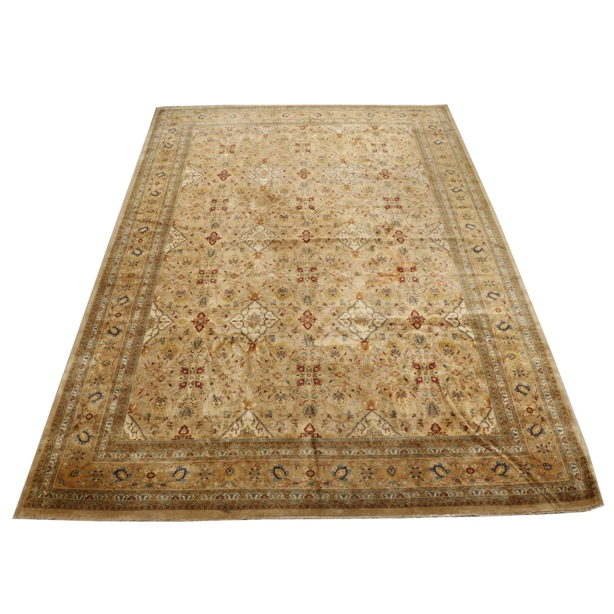 Hand-Knotted Indo-Persian Floral Wool Room Sized Rug